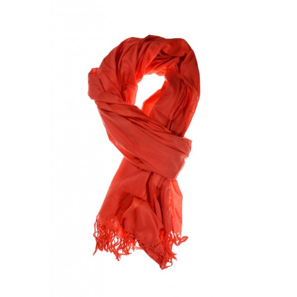 52b86ea3b2a Grande echarpe unie femme corail orange - Sao-Bio