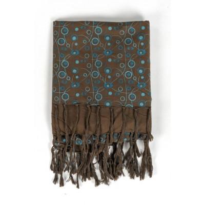 Foulard keffieh coton Roots connection marron bleu