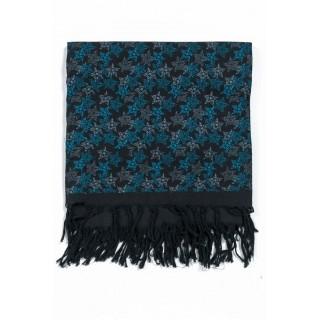 Chèche foulard noir dessin turquoise