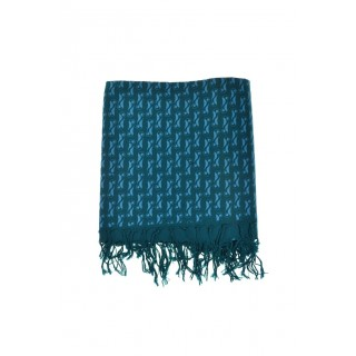 Chèche foulard bleu vert imprime ethnic original turquoise