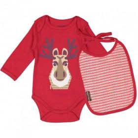 Body et bavoir en coton bio certifié rouge et imprimé Caribou