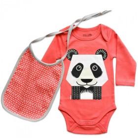 Ensemble body et bavoir rose en coton bio avec un imprimé Panda recto-verso
