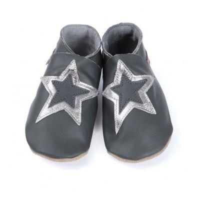Chaussons cuir souple grande étoile argentée