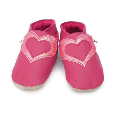 Chaussons fille cuir souple rose grand coeur