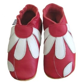 Chaussons cuir souple daisy roots fleurs rouge