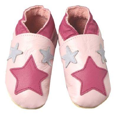 Chaussons cuir souple fille étoiles roses