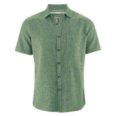 Chemise manches courtes coton bio chanvre couleur cactus
