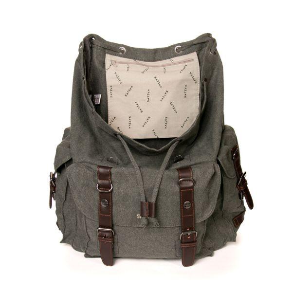 Grand sac à dos bandoulière gris chanvre coton bio Sao Bio