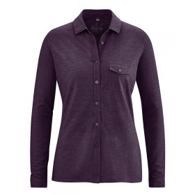 Polo manches longues femme prune
