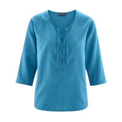Haut femme encolure lacets bleu atlantic