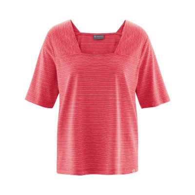 Top, haut femme rayé rouge tomate