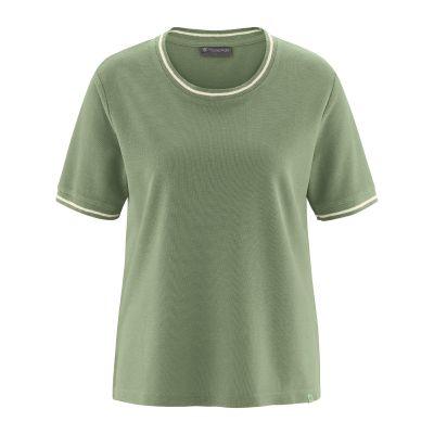 T-shirt femme liseret blanc tissus vert cactus