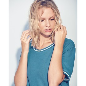 T-shirt femme liseret blanc tissus chanvre et coton bio