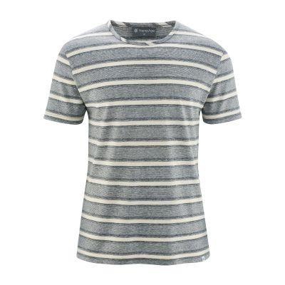 T-shirt bio à rayures gris et blanc nature