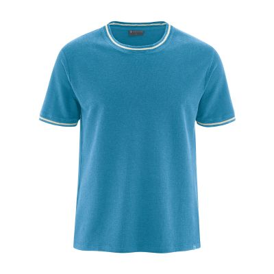 T-shirt bio uni avec liseret blanc bleu atlantic