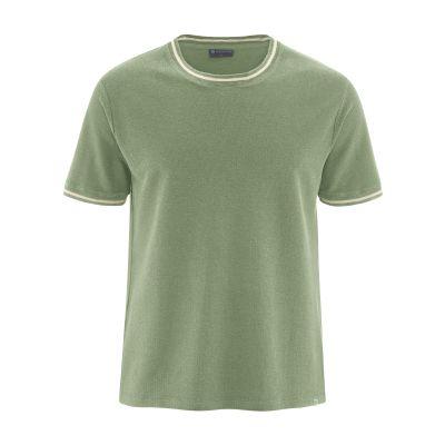 T-shirt bio uni avec liseret blanc vert cactus