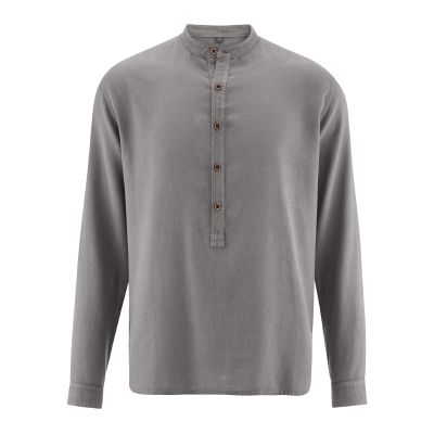 Chemise bio col droit taupe