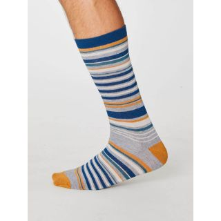 Chaussettes bambou rayures bleues, grises et moutarde