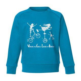 Sweat enfants en coton bio bleu azur Vélo trio