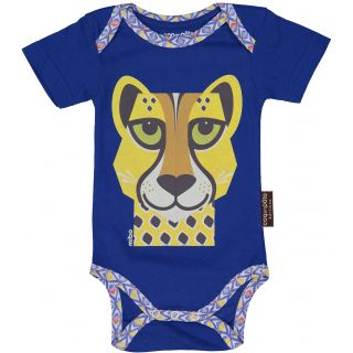 Bodies manches courtes pour bébé coton bio bleu imprimé animal Guépard