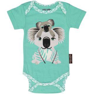 Bodies manches courtes pour bébé coton bio vert d'eau imprimé animal koala