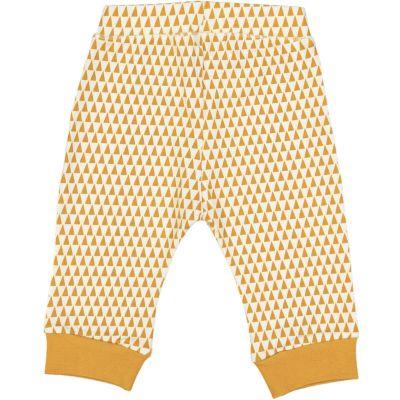 Leggings en coton bio bébé jaune gold avec motif