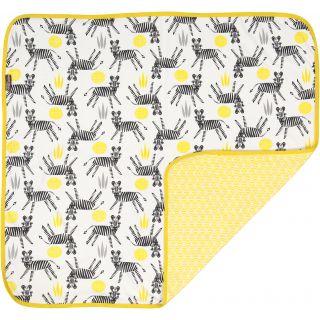 Couverture en coton bio jaune imprimé zèbre