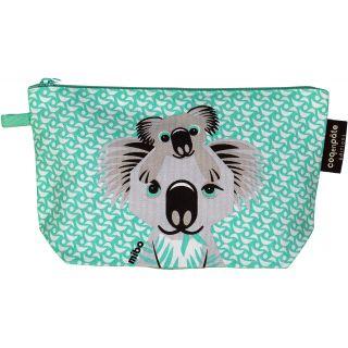 Trousse vert d'eau en coton bio motif koala