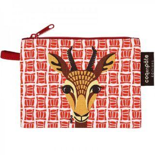 Porte-monnaie enfant en coton bio rouge gazelle