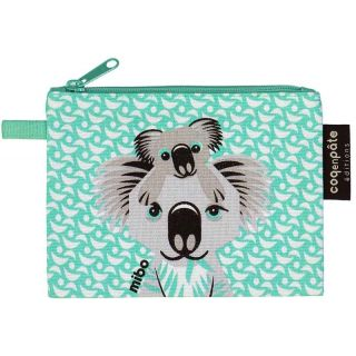 Porte monnaie vert d'eau koala coton bio motif koala