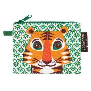 Porte monnaie tigre vert en coton bio