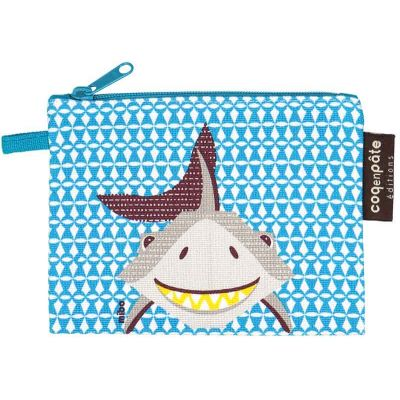 Porte monnaie enfant imprimé bleu motif requin