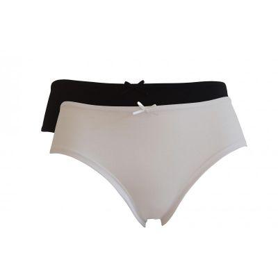 Lot de 2 boxers femme coton bio noir, noir et blanc