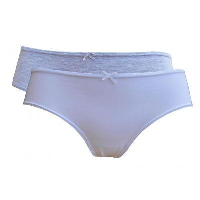 Lot de 2 boxers shorty femme coton bio noir, gris et blanc