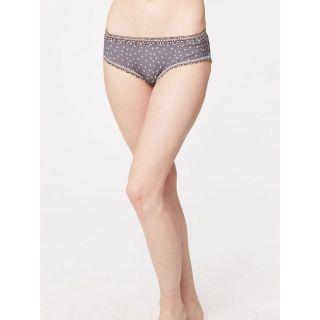 Slip bikini femme gris taupe imprimé bambou et coton bio