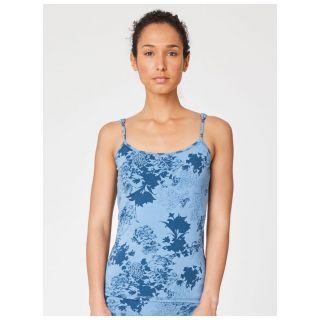 Débardeur réglable, sous vêtement femme bleu en bambou imprimé fleurs
