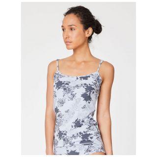 Débardeur réglable, sous vêtement femme gris en bambou imprimé fleurs