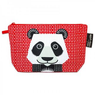 Trousse école ou make-up rouge panda en coton bio