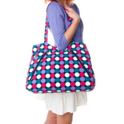 Grand sac courses imprimé pois bleus fushia chanvre coton bio