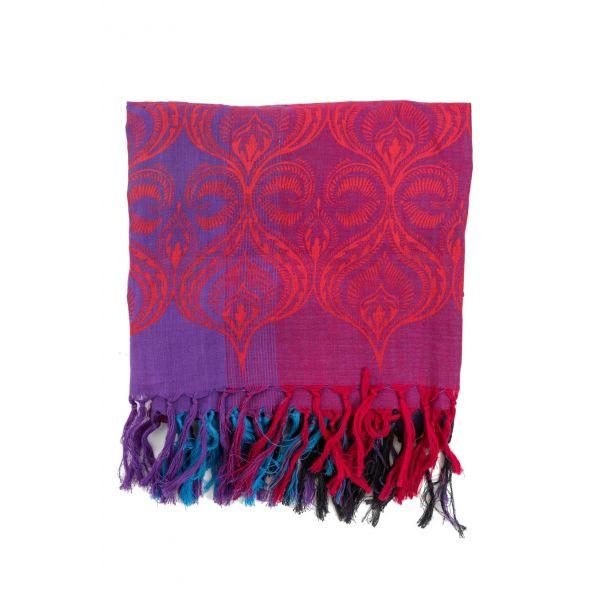 Cheche foulard style ethnic rose, turquoise et fushia  Cheche éthique en  coton du Népal f9ddad18119
