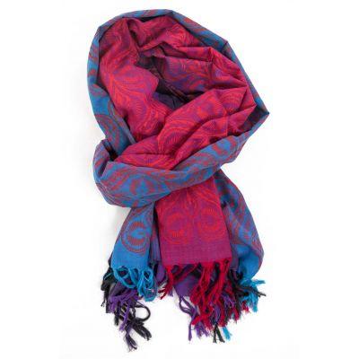 Cheche foulard style ethnic rose, turquoise et fushia