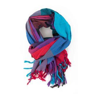 Cheche foulard style madras, coloré bleu, rouge et violet