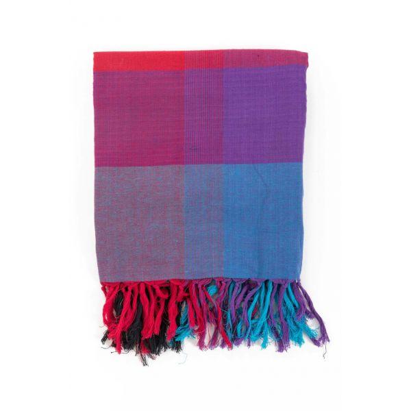 Cheche foulard style madras, coloré bleu, rouge et violet - Sao-Bio 5bb5035b609