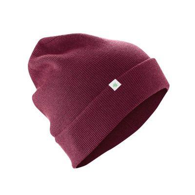 Bonnet laine chanvre et coton bio bordeau
