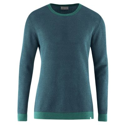 Pull col rond chanvre 2 couleurs bleu mer et turquoise