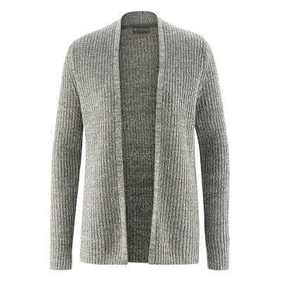 Cardigan sans bouton chanvre véritable et coton bio mélange gris noir