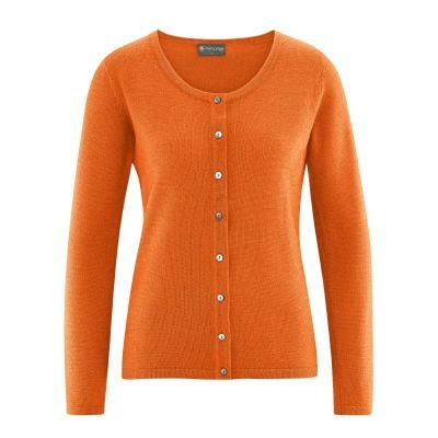 Veste gilet en laine, chanvre et coton bio orange
