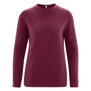 Pull col rond en laine chanvre et coton biologique bordeaux