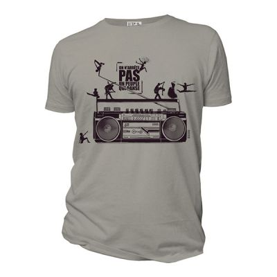 Tee shirt gris bio et équitable On arrête pas un peuple qui danse