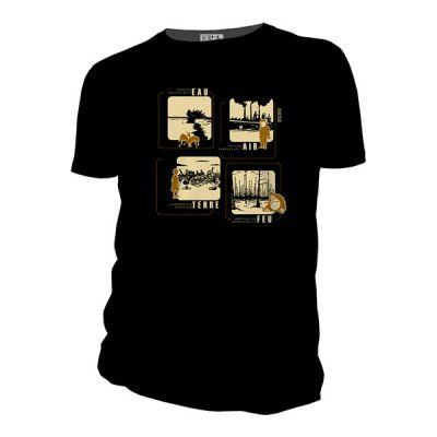 Tee shirt noir bio et équitable 4 éléments